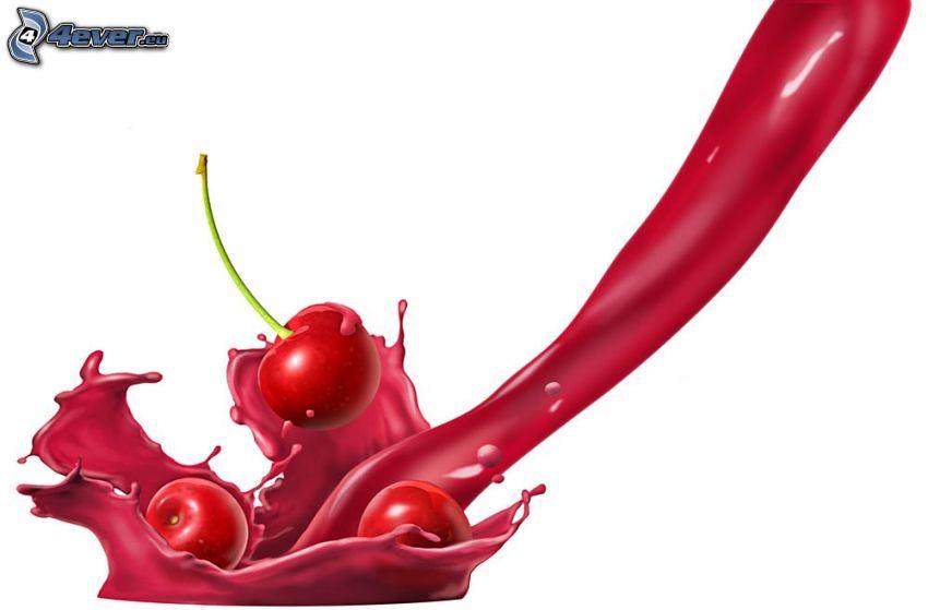 wiśnie, czerwony kolor