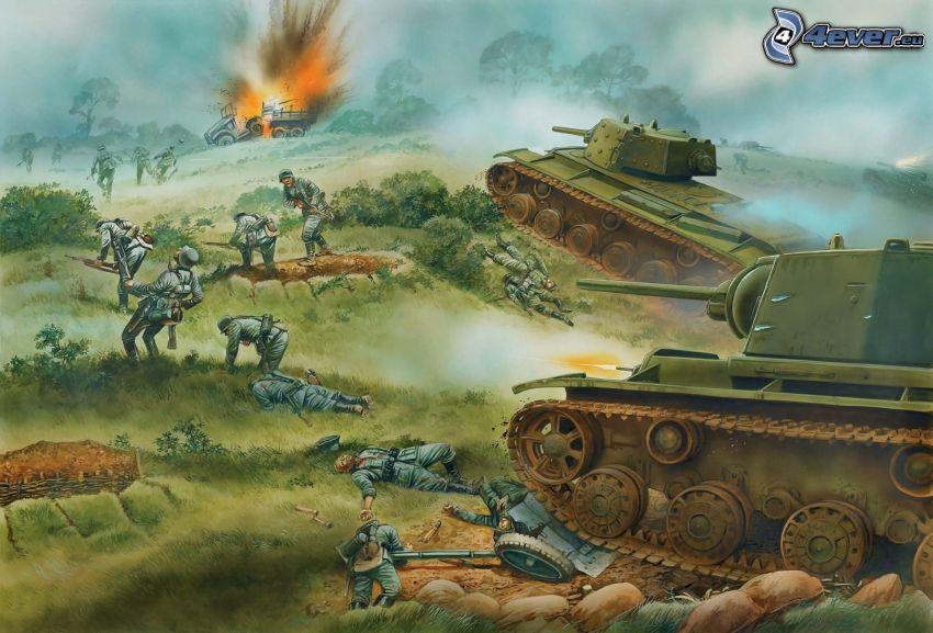wojna, czołgi, żołnierze, eksplozja