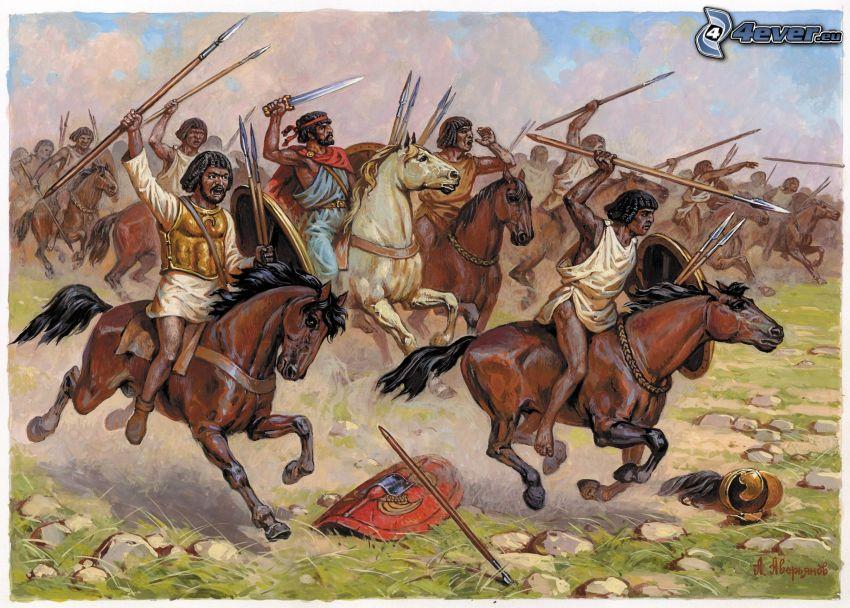 wojownicy, brązowe konie