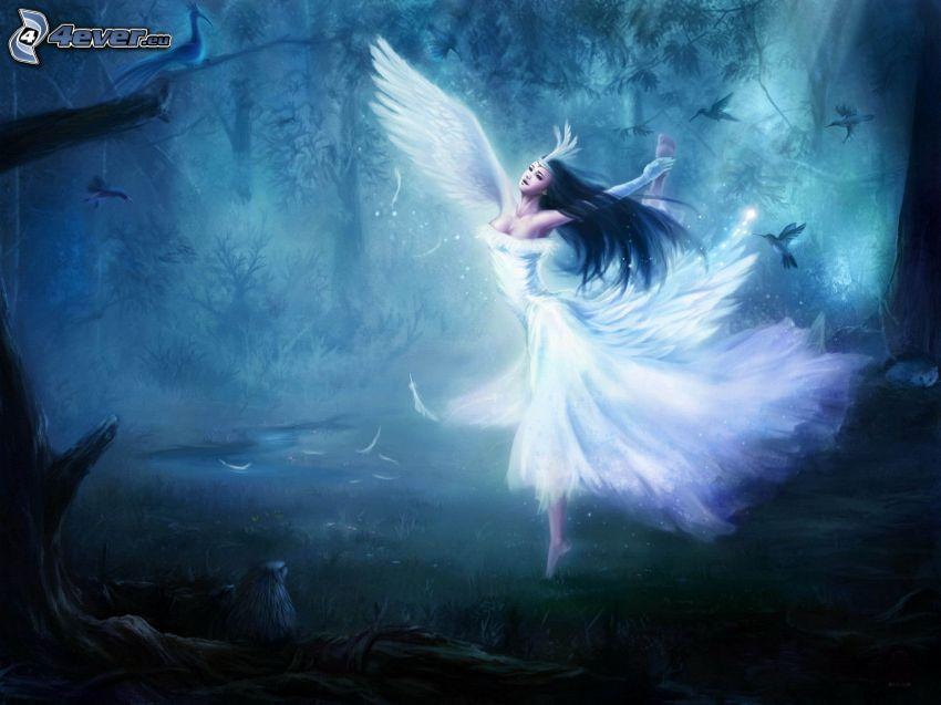wróżka, białe skrzydła