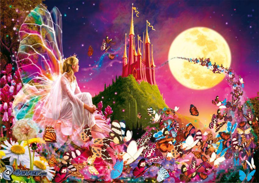 wróżka, Motyle, bajka, rysunek, zamek, pomarańczowy księżyc