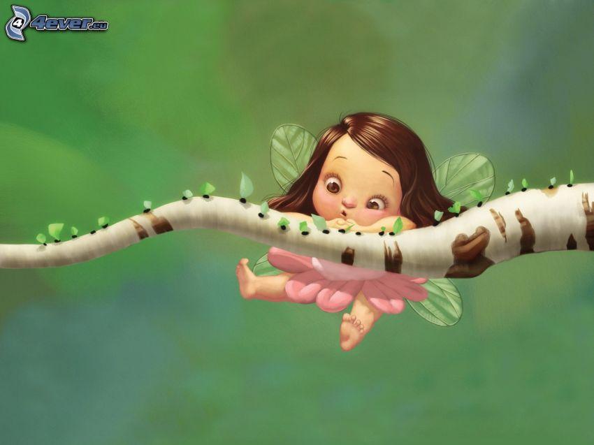 wróżka, rysowana dziewczynka, konar