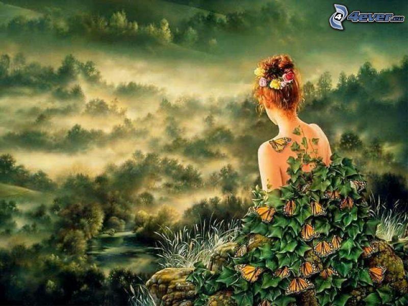 wróżka, zieleń, krajobraz