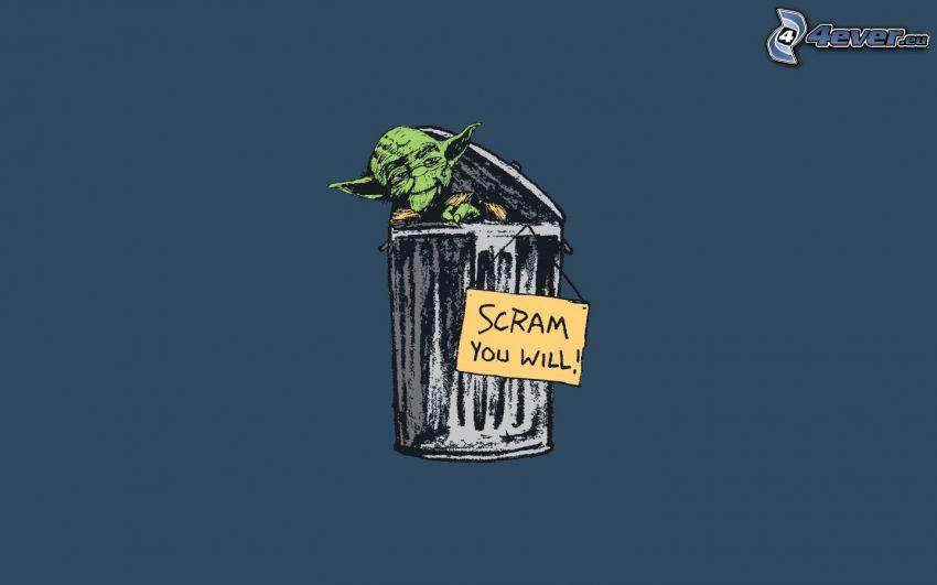Yoda, kosz na śmieci, tabliczka
