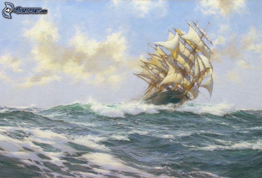żaglowiec, wburzone morze