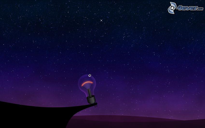 żarówka, gwiaździste niebo, noc