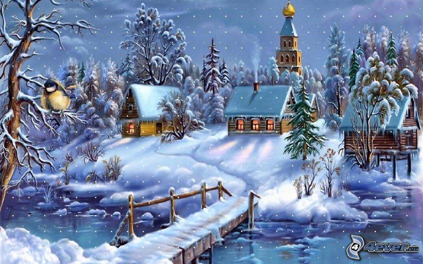 zaśnieżone chatki, drewniany most, rzeka, Thomas Kinkade