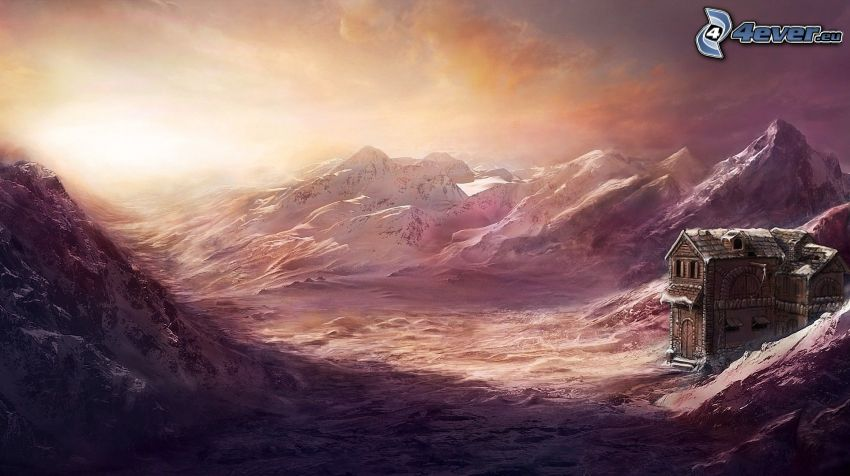 zaśnieżone góry, dom