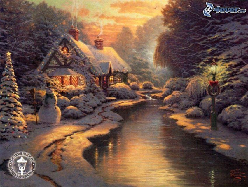 zaśnieżony dom, strumyk, bałwan, choinka, Thomas Kinkade