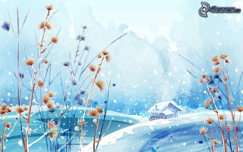 zaśnieżony domek, wysoka trawa, opady śniegu