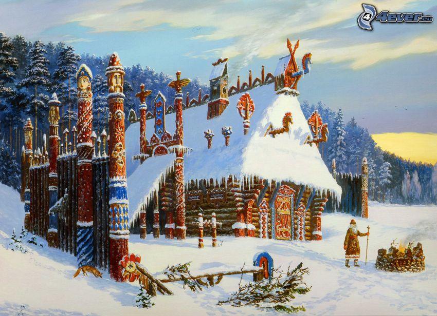zaśnieżony domek