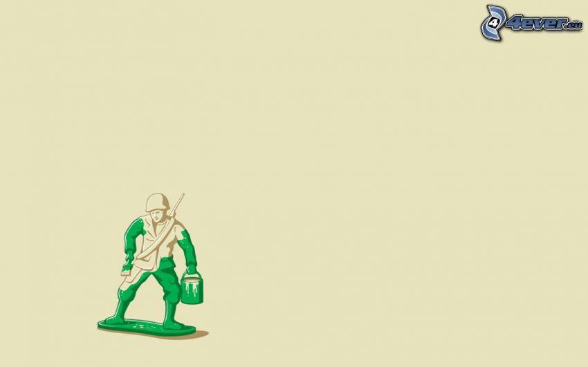 żołnierz, pionek, kolor zielony