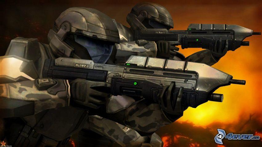 żołnierz z bronią, żołnierze