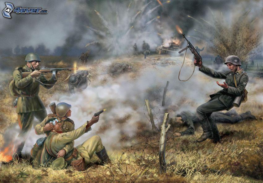 żołnierze, strzelanie, dym, strzelanina