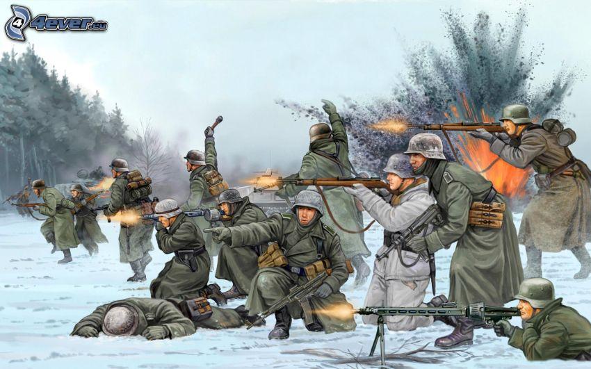 żołnierze, strzelanie, eksplozja, śnieg, II wojna światowa