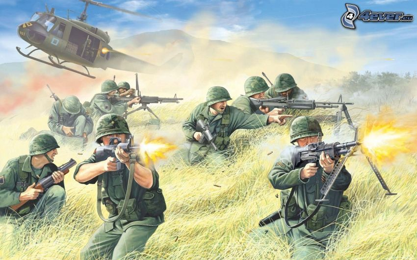 żołnierze, wojskowy śmigłowiec