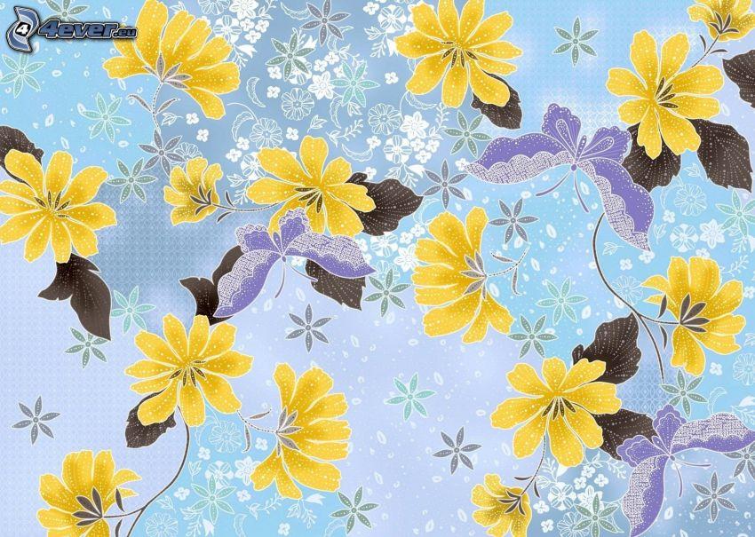 żółte kwiaty, Motyle, niebieskie tło