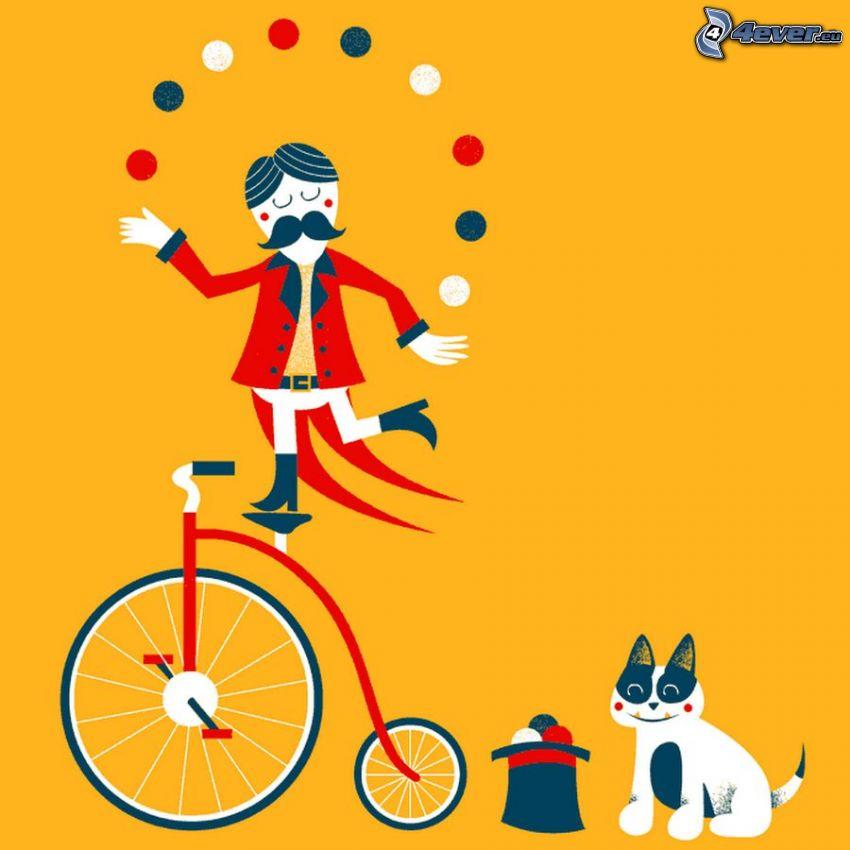 żongler, rower, kot, kapelusz