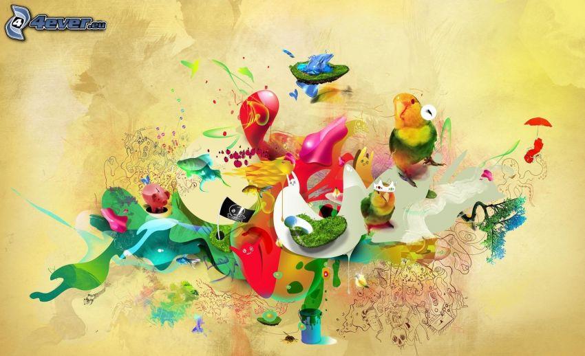 zwierzątka, abstrakcyjne
