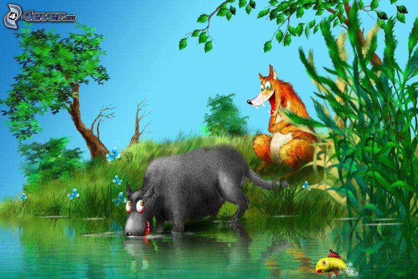 zwierzę, lis, jeziorko, ryba