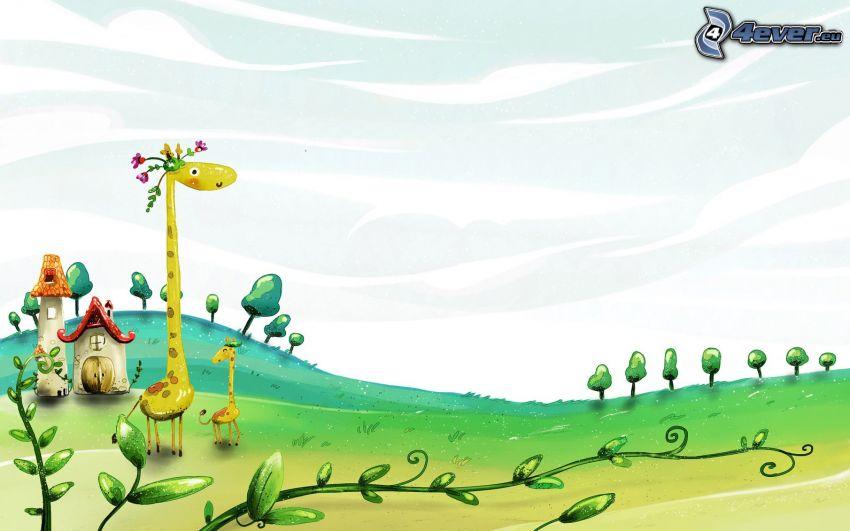 Żyrafy, żyrafiątko, rysunkowy krajobraz
