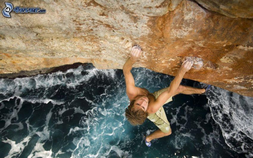 alpinista, skała, rzeka