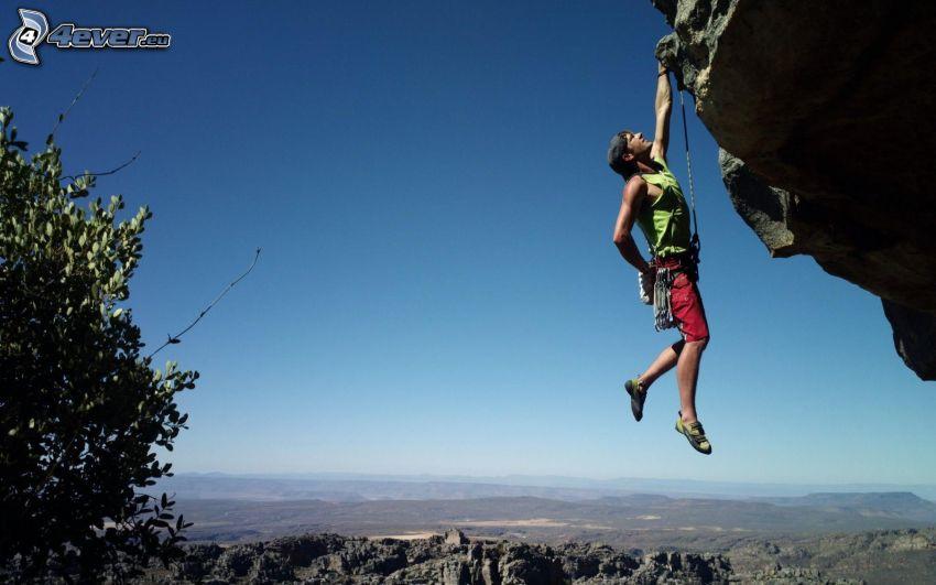 alpinista, skała, widok