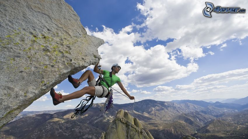 alpinista, skały, widok, chmury