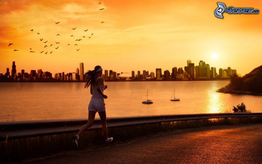 bieg, sylwetka miasta, morze, stado ptaków, żółte niebo