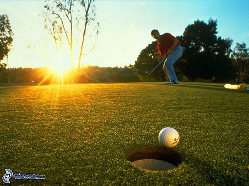 golf, Golfista, zachód słońca