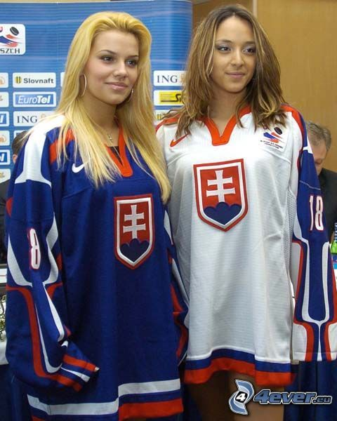 fanki, Słowacja, hokej, blondynka, brunetka