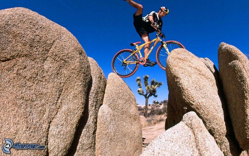 ekstremalny rowerzysta, kamienie