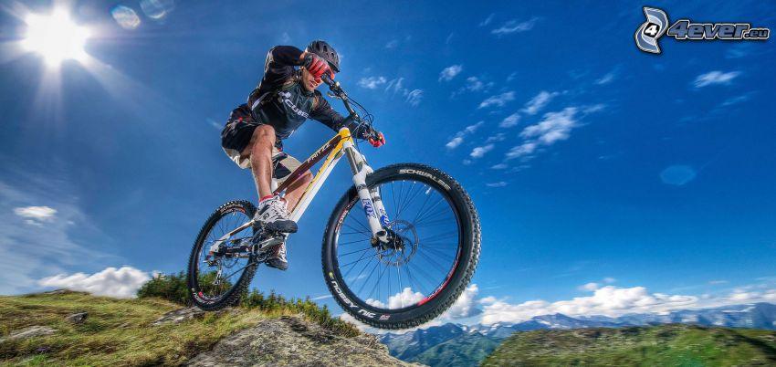 mountainbiking, słońce, skok