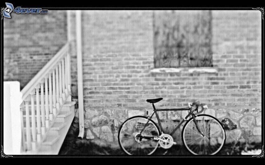 rower, czarno-białe zdjęcie
