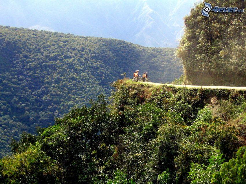 rowerzyści, góra, rafa, las