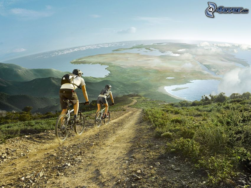 rowerzyści, polna droga, sztuka cyfrowa