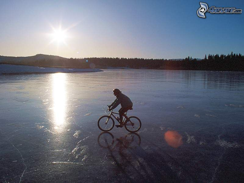 rowerzysta, lód, rower, zima