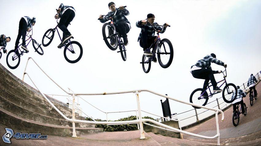 skok na rowerze, poręcz