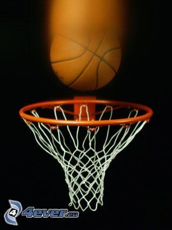 piłka, kosz do koszykówki
