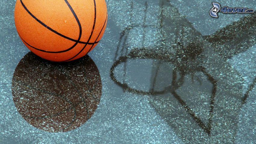 piłka koszykowa, kosz do koszykówki, kałuża, odbicie