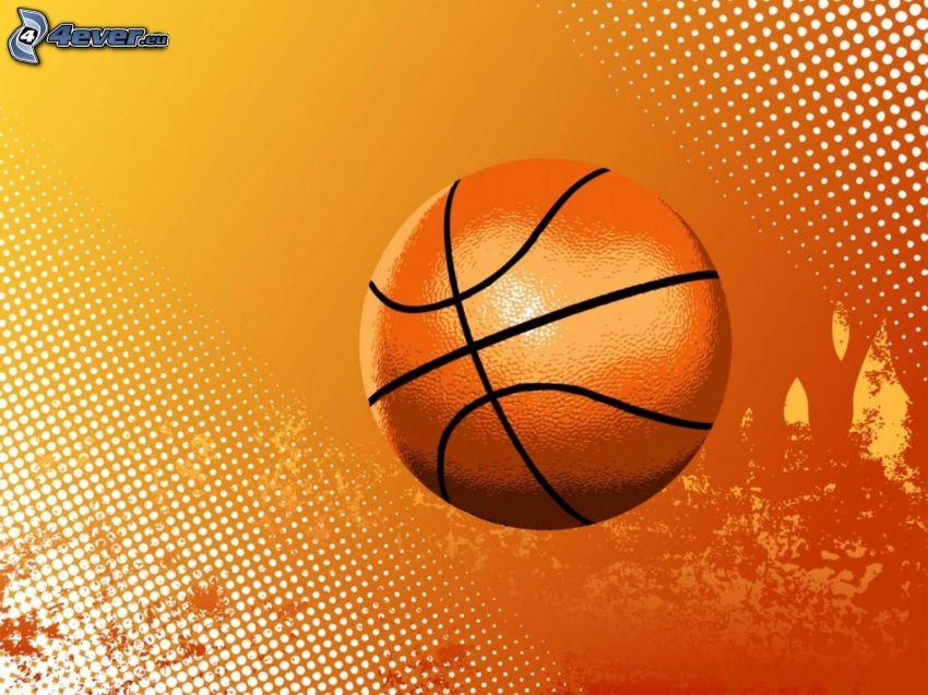 piłka koszykowa, pomarańczowe tło