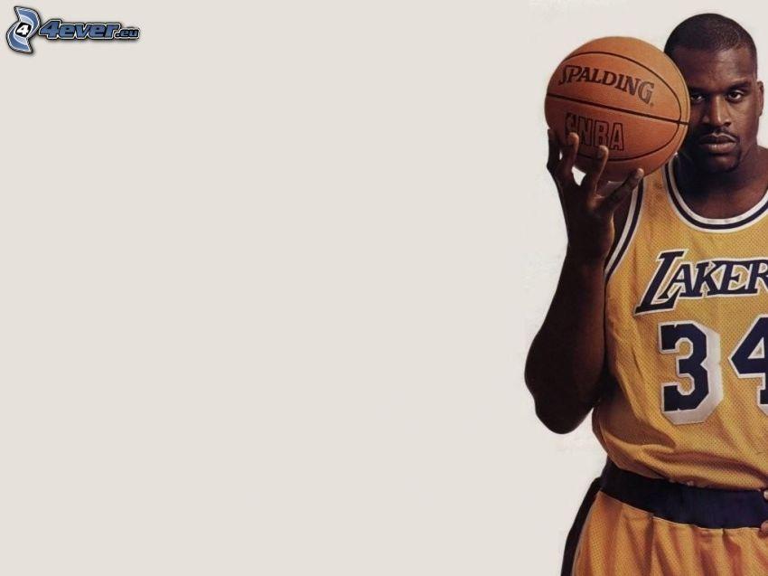 Shaquille O'Neal, LA Lakers, koszykarz, piłka