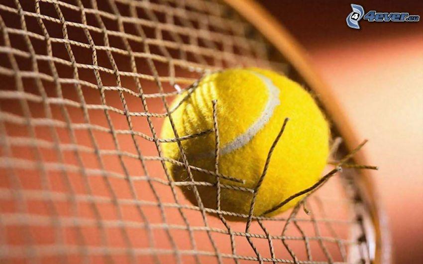 piłeczka tenisowa, rakieta tenisowa, dziura