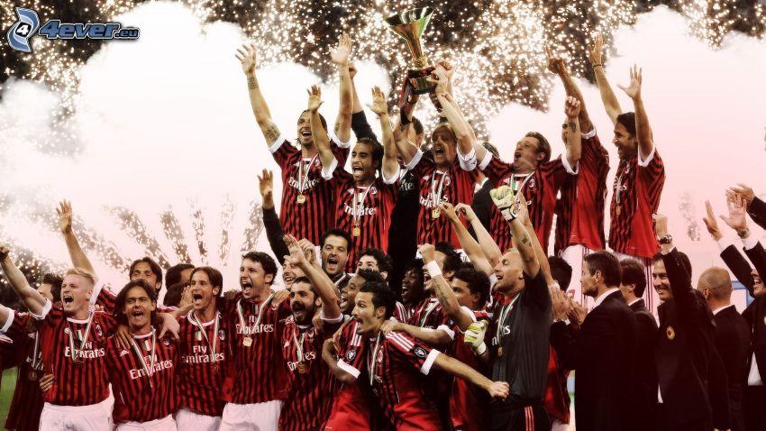 AC Milan, drużyna piłki nożnej, zwycięzca, radość