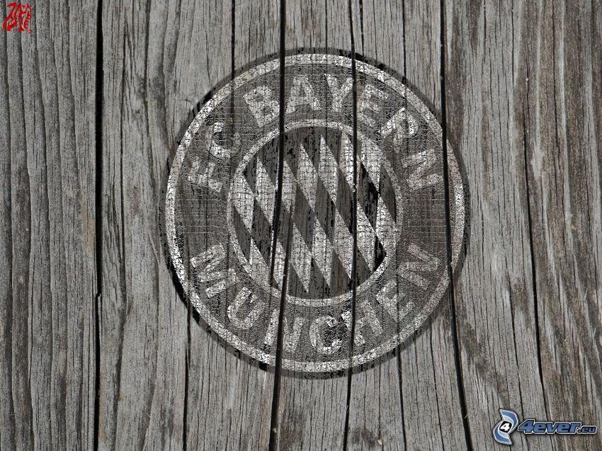 Bayern München, piłka nożna, logo, drewno