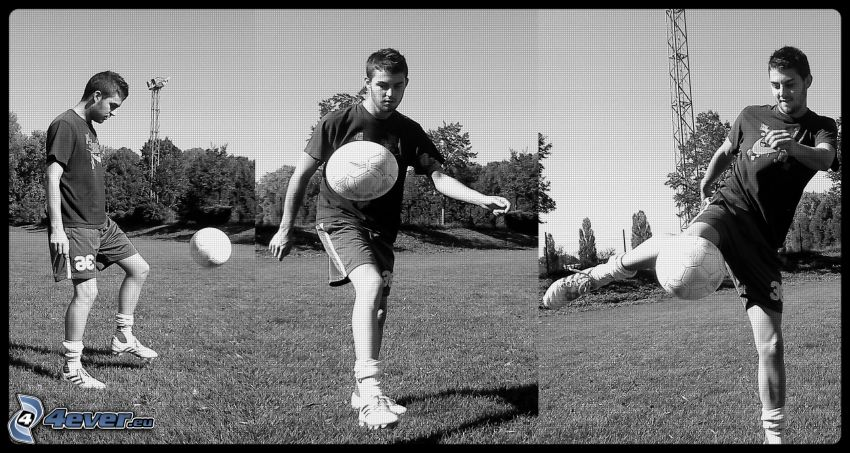 piłkarz z piłką, chłopczyk, boisko do piłki nożnej