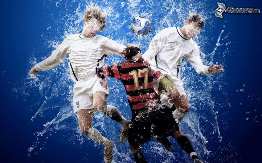 piłkarze w wodzie, piłka, bąbelki, woda
