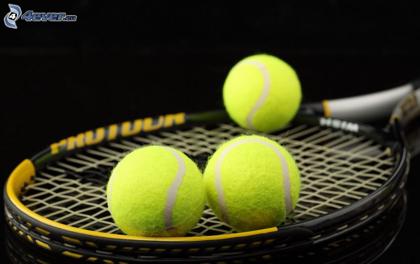 rakieta tenisowa, piłeczki, tenis