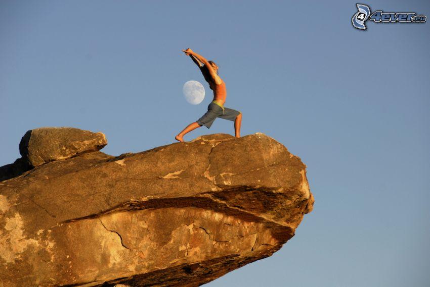 rozgrzewka, skała, księżyc