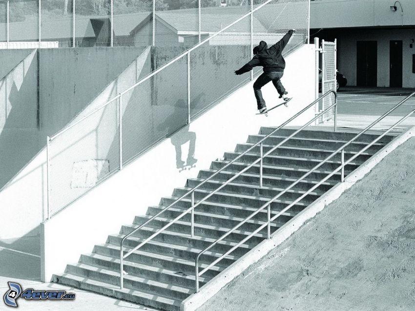 Skateboarding, schody, adrenalina